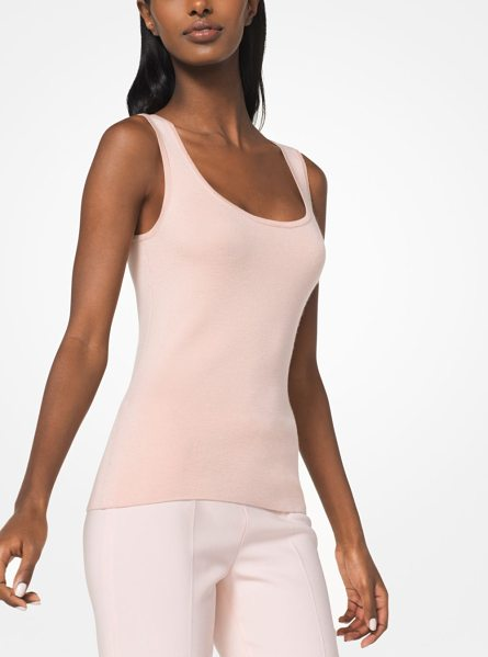 Michael Kors Collection Merino Wool-Blend Tank in pink - Simple And Sumptuous This Essential Tank Is Crafted From...
