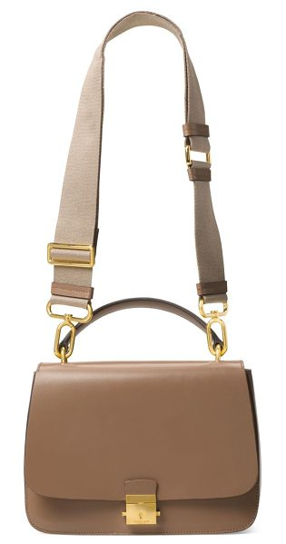 Michael Kors Collection mia leather top handle shoulder bag in desert - Sophisticated leather bag with convenient top handle....
