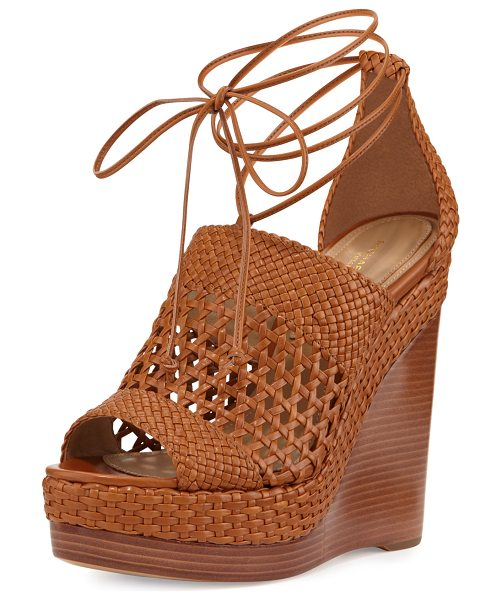 "Michael Kors Collection Angela Woven Leather Wedge Sandal in luggage - Michael Kors woven leather sandal. 4"" stacked wedge..."