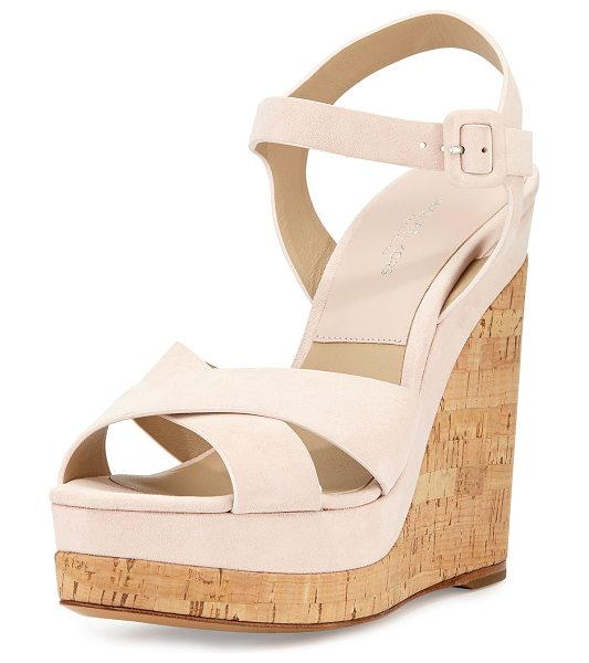 "Michael Kors Collection Cate Suede Wedge Sandal in ballet - Michael Kors kid suede sandal. 5"" cork wedge heel; 1.5""..."