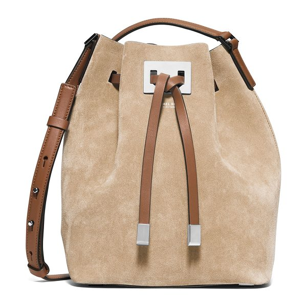 Michael Kors Collection Miranda medium suede bucket bag in sand - Michael Kors Collection medium bucket bag in soft calf...