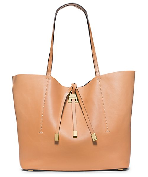 Michael Kors Collection Miranda Large Leather Tote in brown - Meet Miranda Reimagined. We Crafted This Luxurious...