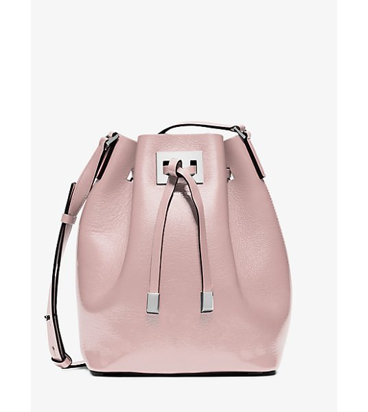 Michael Kors Collection Miranda Medium Leather Crossbody in pink - The Beauty Of Our Miranda Bucket Bag Lies In Its...