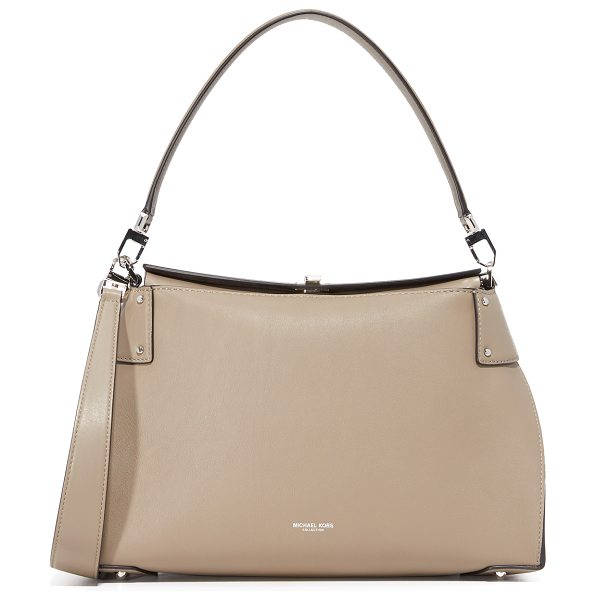 Michael Kors Collection Miranda top lock shoulder bag in dark taupe - A sophisticated Michael Kors Collection handbag in a...