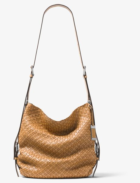 Michael Kors Collection Naomi Extra-Large Woven Leather Shoulder Bag in  brown - Crafted From 41182371f651f