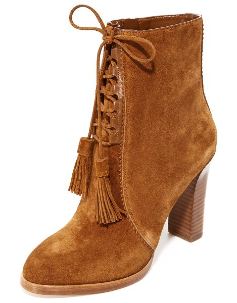 Michael Kors Collection odile lace up booties in luggage - Luxe suede Michael Kors Collection booties styled with...