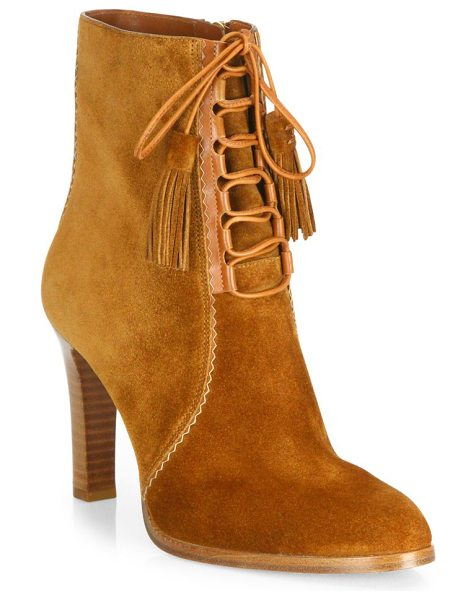 Michael Kors Collection odile suede lace-up booties in luggage - Luxe suede lace-up bootie with tonal tasseled tips....