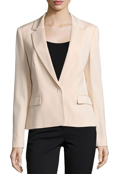Michael Kors Collection One-button long-sleeve jacket in nude - Michael Kors stretch-wool jacket. Notched lapels;...