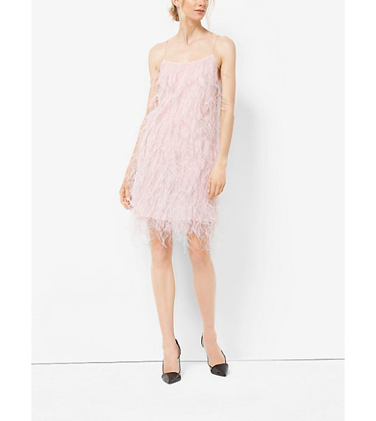 Michael Kors Collection Ostrich Feather-Embroidered Chantilly Lace Slip Dress in pink - I Love The Idea Of Something Light And Frothy To Wear In...