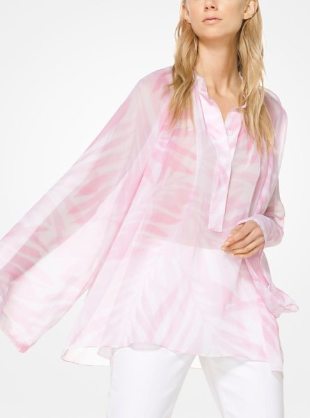 Michael Kors Collection Palm Silk-Chiffon Poet's Blouse in pink - This Poet's Blouse Is Cut From Sheer Silk-Chiffon And...