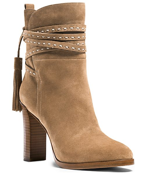 Michael Kors Collection Palmer Ankle-Wrap Suede Boot in brown - Our Palmer Boots Offer An Artisanal Take On Bohemian...