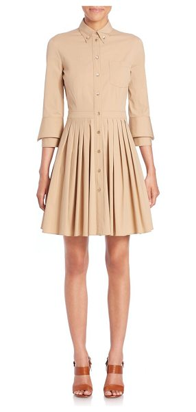 MICHAEL KORS COLLECTION Pleated a-line shirtdress - Modern shirtdress with structural pleatingButton-down...