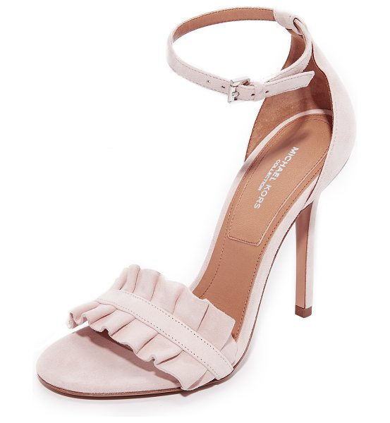 Michael Kors Collection priscilla sandals in ballet - A ruffled vamp adds feminine charm to these suede...