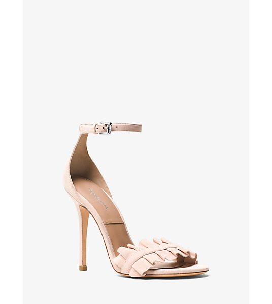 Michael Kors Collection Priscilla Suede Sandal in pink - With A Delicate Ankle Strap And Ruffled Accents The...