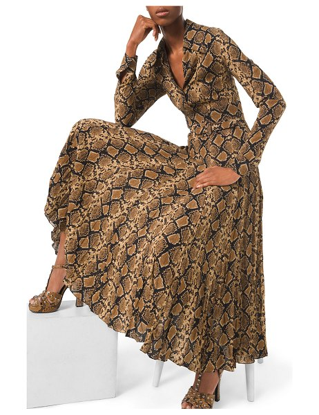 Michael Kors Collection Python-Print Crushed Georgette Dress in brown pattern
