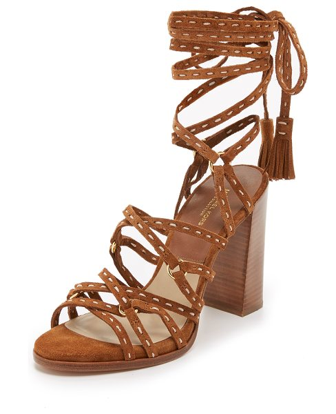 Michael Kors Collection Rowan lace up sandals in luggage