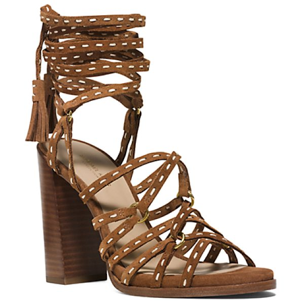 Michael Kors Collection Rowan Suede Sandal in brown - Crafted From Deliciously Soft Suede Our Italian-Made...