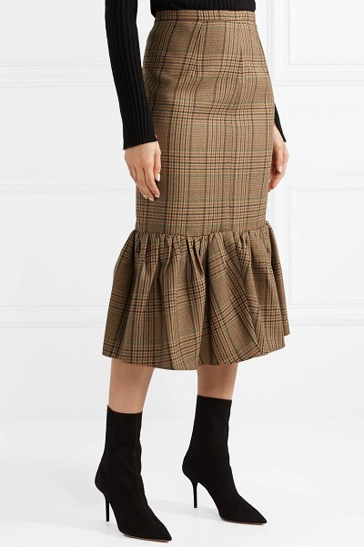 Michael Kors Collection rumba fluted plaid wool midi skirt in brown - Michael Kors' Fall '18 collection is a celebration of...