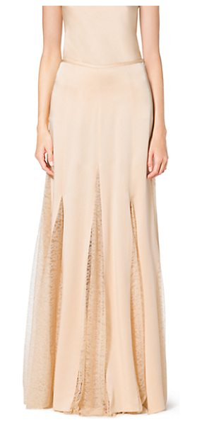 Michael Kors Collection Satin Charmeuse And Chantilly Lace Maxi Skirt in natural