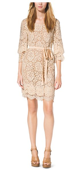 MICHAEL KORS COLLECTION Scalloped-Lace Shift Dress - This Elegant Chantilly Shift Dress Features Fluttery...