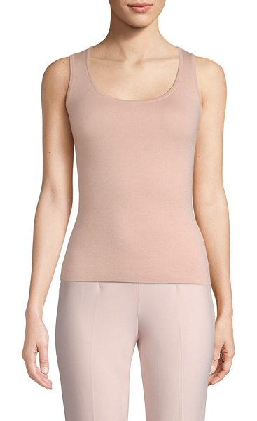 Michael Kors Collection scoopneck shell tank in blush - Crafted from a sumptuous blend of merino wool, silk and...