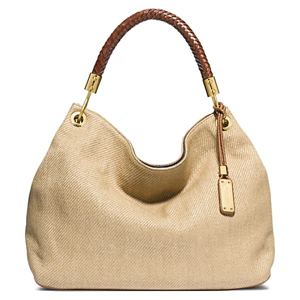 bf75d1dd8b00 Michael Kors Collection Skorpios Large Woven Shoulder Bag in brown - Never  Let Go. This