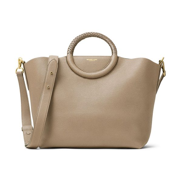 Michael Kors Collection skorpios leather market bag in dune - Spacious pebble leather tote with braided ring handles....
