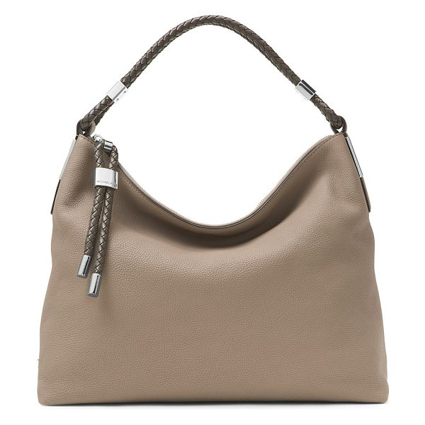 MICHAEL KORS COLLECTION skorpios leather hobo bag in darktaupe - Braided leather handle tops slouchy shoulder bag. Top...