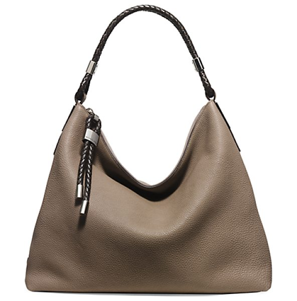 Michael Kors Collection Skorpios Pebbled-Leather Shoulder Bag in brown