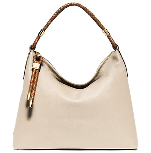 Michael Kors Collection Skorpios Top-Zip Leather Shoulder Bag in natural