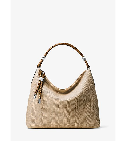 MICHAEL KORS COLLECTION Skorpios Woven Shoulder Bag in natural - Our Superbly Chic Skorpios Shoulder Bag Is Crafted From...