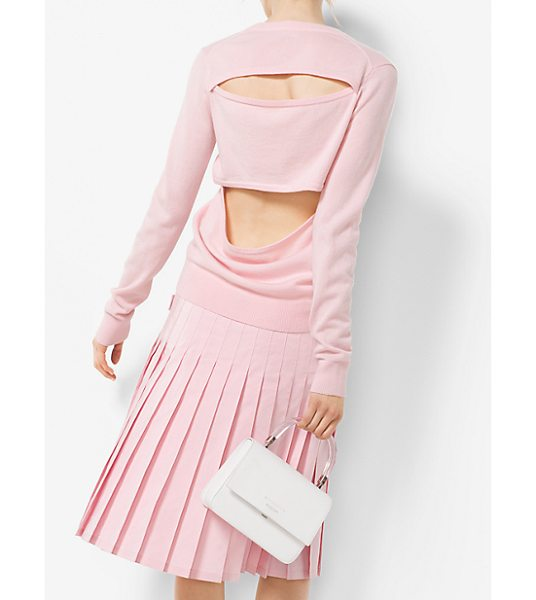 Michael Kors Collection Slit-Back Cashmere Sweater in pink - She Can Go To Newport From The Front And Newport Beach...