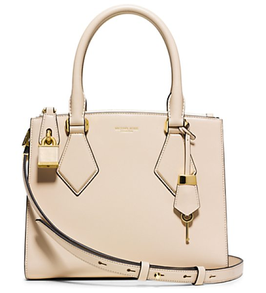 Michael Kors Collection Casey Small Leather Satchel in natural - Rendered In French Calf Leather The Casey Satchel Is...