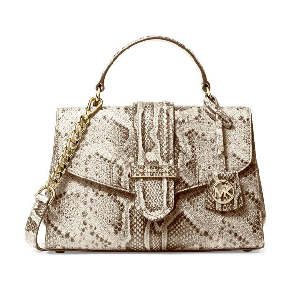 Michael Kors Collection small bleecker python-embossed leather satchel in natural