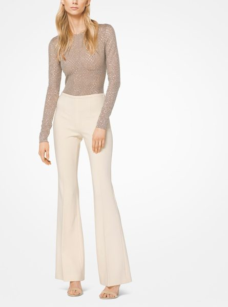 Michael Kors Collection Stretch Pebble-Crepe Flared Trousers in natural - Sans Hardware And Pockets These Flared Pants Are Crafted...