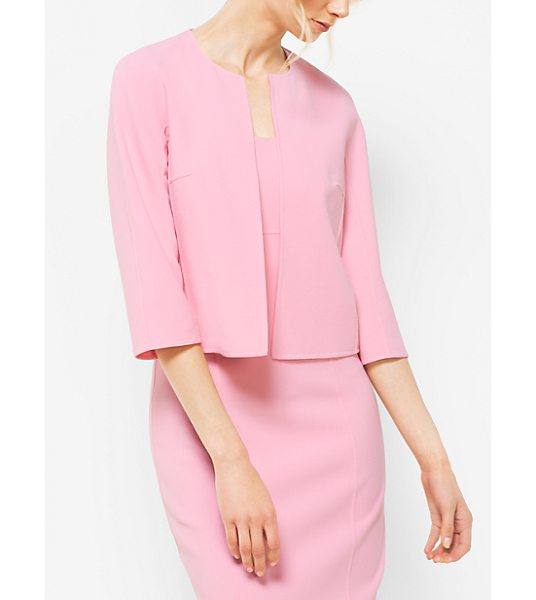 Michael Kors Collection Stretch-Wool Crewneck Jacket in pink - Crafted From Stretch-Wool With A Crew Neckline Cropped...