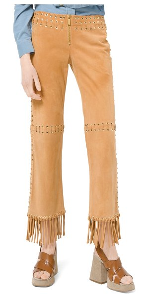 Michael Kors Collection Suede Whipstitch Fringe Pants in camel