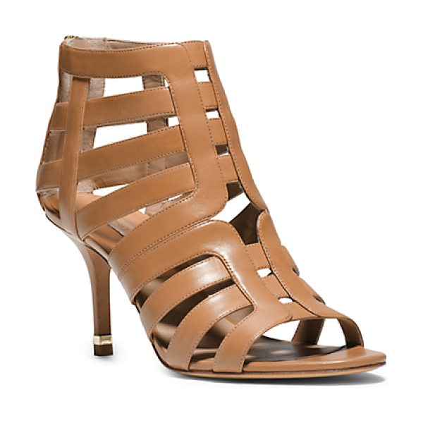 Michael Kors Collection Susie leather cutout sandal in suntan - Your dress-it-up dress-it-down essential for the season....