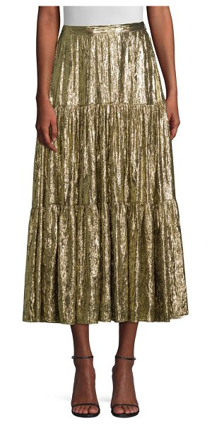 Michael Kors Collection tiered midi skirt in gold - Channel the high-glam opulence of the 1970s with this...