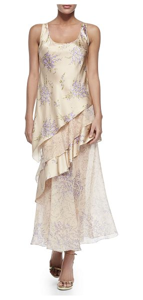 Michael Kors Collection Tiered tank maxi dress in nude/wisteria - Michael Kors long dress in layered, floral-print...