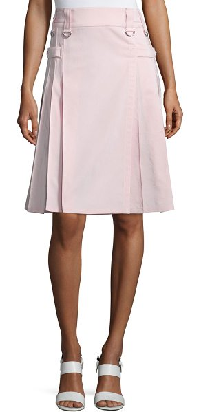 """Michael Kors Collection Utility Pleated Kilt-Style Skirt in blush - Michael Kors faille skirt. Approx. 24.5""""L. Sits at the..."""