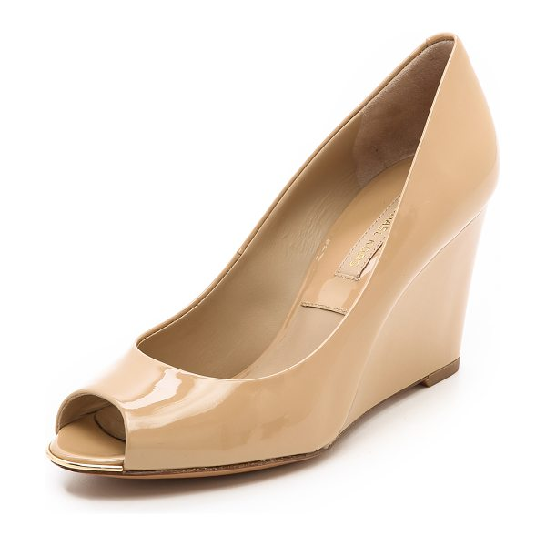 Michael Kors Collection Valari patent peep toe wedges in dark nude