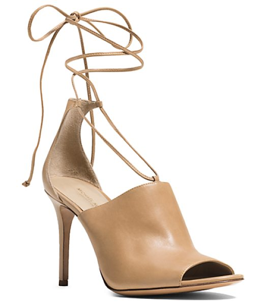 Michael Kors Collection Venice Leather Sandal in brown - I'm Strap Happy Says Michael. Detailed With Delicate...