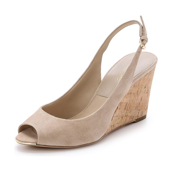Michael Kors Collection Vikki slingback wedges in nude - Classic suede Michael Kors Collection pumps with a cork...