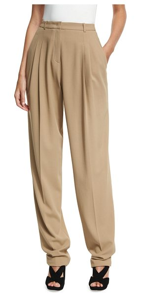 Michael Kors Collection Virgin Wool Pleated Carrot Trousers in beige - Michael Kors Collection carrot trousers in stretch...