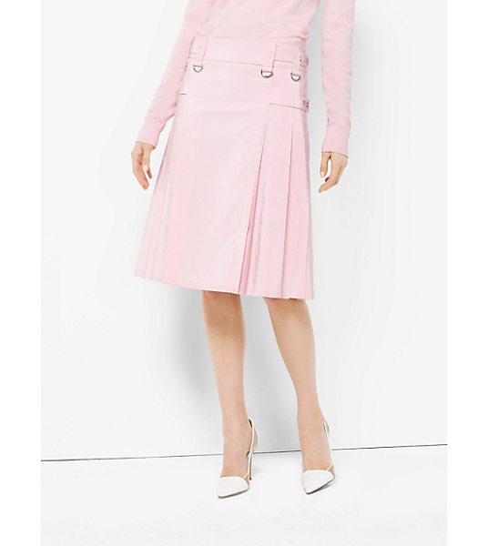 Michael Kors Collection Washed Silk And Cotton-Faille Utility Kilt in pink - Palm Beach Meets Punk In This Utility Kilt Says Michael....