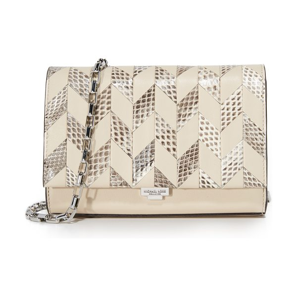 Michael Kors Collection yasmeen small clutch in vanilla/natural - A petite Michael Kors Collection clutch in a patterned...