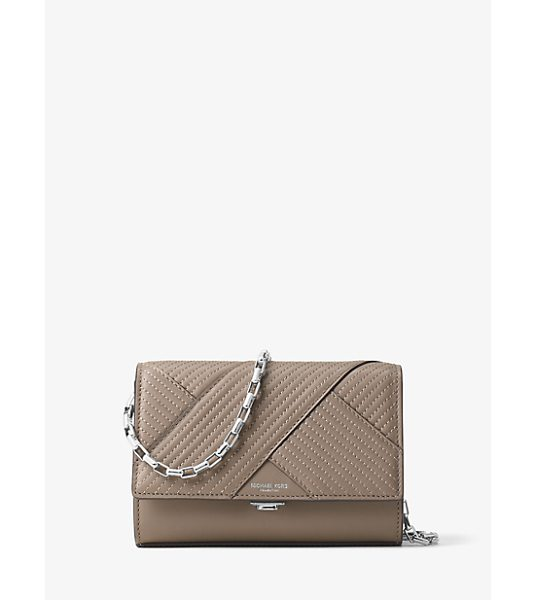 Michael Kors Collection Yasmeen Small Quilted-Leather Clutch in brown - Clean Lines And Quilted French Calf Leather Combine For...