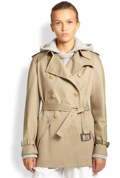 Michael Kors Cotton gabardine cape trench in sand - Classic trench detailing shapes this wool gabardine...
