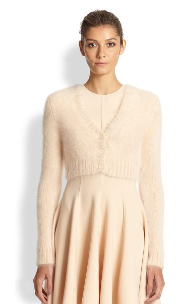 Michael Kors Cropped angora cardigan in nude - Plush, touchably soft angora shapes this cropped...
